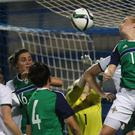 The Northern Ireland team in action (Brian Lawless/PA)
