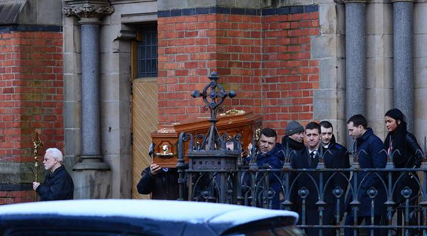 Pacemaker Press Belfast 09-02-2018: The funeral of Mark Ponisi took place in St Paul's Church in Belfast. Burial afterwards was in The City Cemetery.