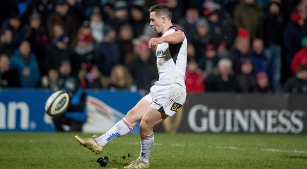 Ulster's John Cooney kicks a conversion against Southern Kings last week. Pic: INPHO/Morgan Treacy