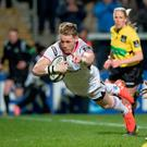 Ulster soar: Craig Gilroy scored a hat-trick of tries