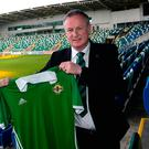 Unfinished business: Michael O'Neill poses with an NI shirt at Windsor Park after signing his new six-year deal