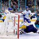 My goal: Belfast Giants Steve Saviano celebrates scoring against Fife Flyers in his side's 6-4 victory