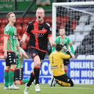 Crusaders' Jordan Owens celebrates his goal during today's game at Seaview. Photo by David Maginnis/Pacemaker Press