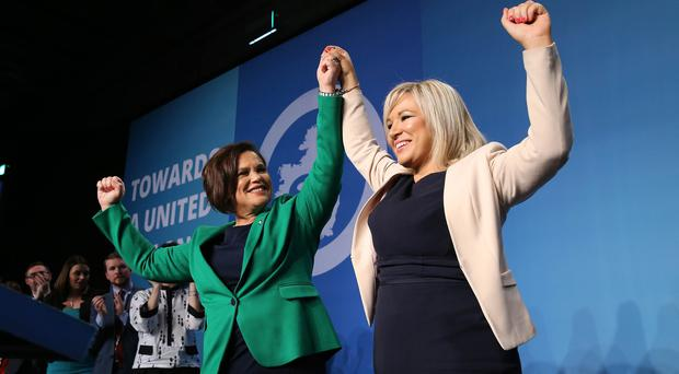 Press Eye - Belfast - Northern Ireland - 10th December 2018 Sinn Féin hold special Ard Fheis to elect new Party President Sinn Fein Vice President Michelle O'Neill, left, and Sinn Féin President Mary Lou McDonald at the RDS in Dublin. Photo by Kelvin Boyes / Press Eye