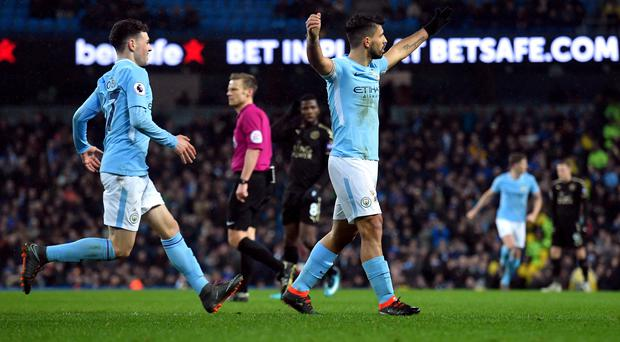 Sergio Aguero scored four as Manchester City thrashed Leicester