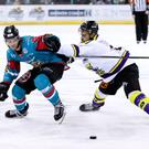 Press Eye - Belfast - Northern Ireland - 11th February 2018 - Photo by William Cherry/Presseye Belfast Giants Sebastien Sylvestre with Manchester Storm's Linden Springer during Sunday afternoons Elite Ice Hockey League game at the SSE Arena, Belfast.