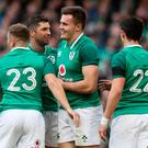 Ireland's Jacob Stockdale (centre right) celebrates with team-mates after scoring his side's seventh try.