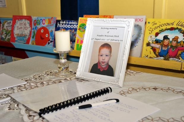 PACEMAKER BELFAST 12/02/2018 A book of condolence has been opened at Harryville Primary School for young Kayden Fleck.