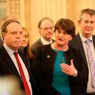 DUP's Arlene Foster speaking to the media at Stormont