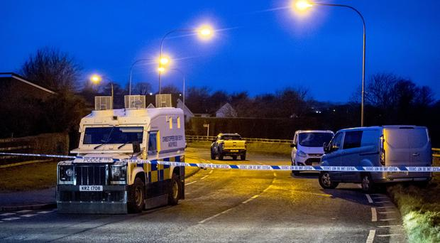 Police at the scene of a triple stabbing in the North Circular road area of Lurgan following a funeral on February 12th 2018 (Photo by Kevin Scott / Belfast Telegraph)