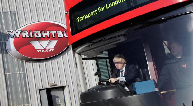 Former London Mayor Boris Johnson during a visit to Wrightbus in 2016