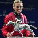 Silver lining: Sammy Jo Bell with the Shergar Cup