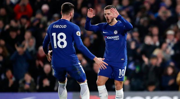 Hazard warning: Eden Hazard celebrates scoring his first goal against West Brom last night with striker Olivier Giroud