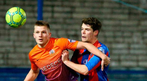 Two good: striker Andrew Mitchell (left) bagged a double for Glenavon