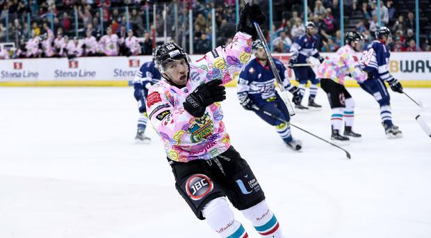 Belfast Giants Brendan Connolly celebrates scoring against Dundee Stars during Wednesday nights Elite Ice Hockey League game at the SSE Arena, Belfast .