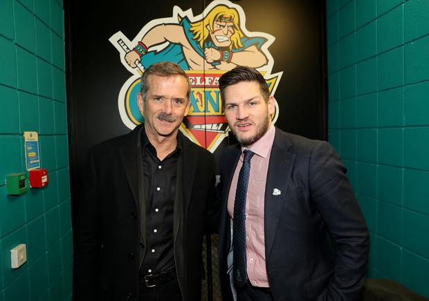 Press Eye - Belfast - Northern Ireland - 14th February 2018 - Photo by William Cherry/Presseye Colonel Chris Hadfield pictured with head coach Adam Keefe conducts the ceremonial face-off on Wednesday 14th February with Stena Line Belfast Giants Captain Blair Riley and Dundee Stars Captain Chris Lawrence. Chris Hadfield is in Belfast with his arena show, An Evening with Col. Chris Hadfield, which takes place Thursday at the SSE Arena Belfast and officially kicks off the 2018 NI Science Festival. For more information on the festival and to see the full programme of events, visit nisciencefestival.com.
