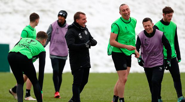 Euro dreamer: Brendan Rodgers, in training yesterday, says Celtic enjoy the challenge of big European nights