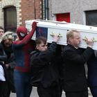 Funeral of Kayden Fleck, Darrel Fleck, front right, carries the coffin of his son during the funeral at Elim Church Ballymena. Pic by Peter Morrison