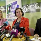 Sinn Feins President Mary Lou McDonald pictured with Michelle ONeill and Conor Murphy at a press conference at Stormont. Pic Stephen Hamilton/Presseye