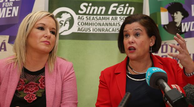 Sinn Fein leader Mary Lou McDonald and deputy leader Michelle O'Neill speak to the media this afternoon about the break up of the talks with the DUP at Stormont. Pic: Pacemaker