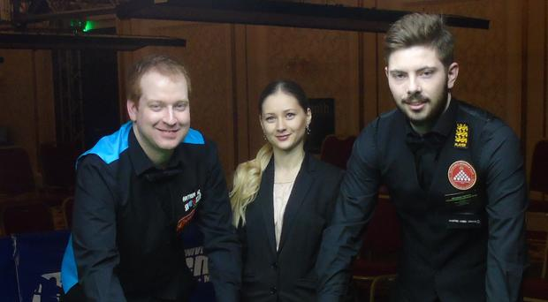 Antrim's Jordan Brown (left) at the start of his European Championship final clash with Englishman Harvey Chandler (right) in Sofia. Also pictured is final referee Protletina Velichkova (Bulgaria).