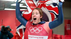 Great Britain's Lizzy Yarnold celebrates winning gold in the Women's Skeleton at the Alpensia Sliding Centre during day eight of the PyeongChang 2018 Winter Olympic Games in South Korea. David Davies/PA Wire.