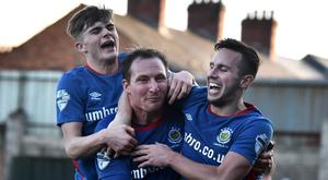 Linfield's Achille Campion celebrates during today's game at Solitude in Belfast. Photo Charles McQuillan/Pacemaker Press