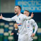 Ballymena's Kyle Owens scores during the League Cup Final. (Photo by Kevin Scott / Belfast Telegraph)
