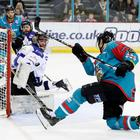 Press Eye - Belfast - Northern Ireland - 18th February 2018 - Photo by William Cherry/Presseye Belfast Giants Jonathan Ferland with MK Lightning Jindrich Pacl during Sunday afternoons Elite Ice Hockey League game at the SSE Arena, Belfast.