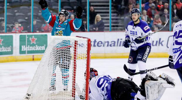 Net gain: Brendan Connolly celebrates a Giants goal but Lightning struck back to win at the SSA Arena