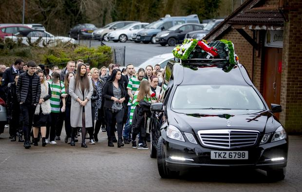 The funeral of murder victim Raymond Johnston takes place at the Church of the Nativity in Poleglass on February 19th 2018 (Photo by Kevin Scott / Belfast Telegraph)