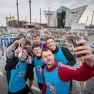 Northern Ireland finalists Distillery Elite celebrate winning last year's Red Bull Neymar Jr's Five Finals in Titanic Slipways