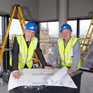 Cian Landers (left), Fitzwilliam Hotel general manager, and David Harte, project manager at Edgewater Contracts
