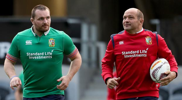 Friendly rivalry: Ken Owens and Rory Best on Lions duty but they will be on opposing sides at the Aviva this weekend