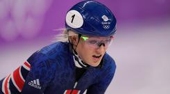 Elise Christie of Great Britain looks dejected after the Ladies Short Track Speed Skating 1000m Heats.