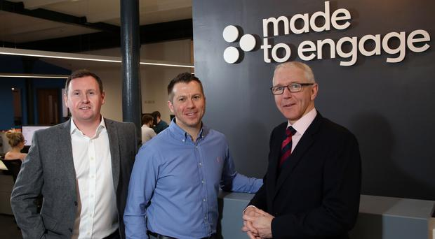 From left, Steven Cassin and Stephen Leathem of Made to Engage, with Brian Dolaghan, Invest NI director