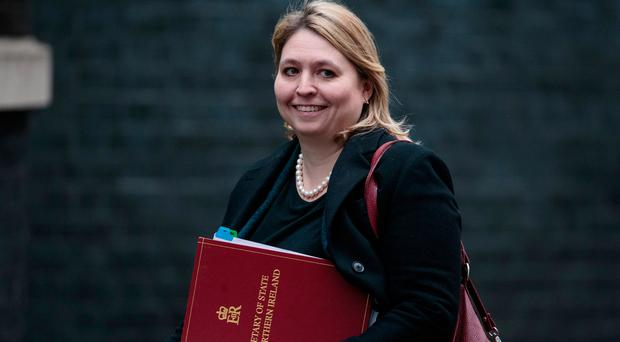 Northern Ireland Secretary Karen Bradley arrives at Downing Street yesterday