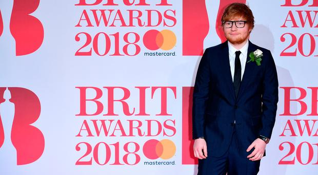 Ed Sheeran attending the Brit Awards at the O2 Arena, London. PRESS ASSOCIATION Photo. Picture date: Wednesday February 21, 2018. See PA story SHOWBIZ Brits. Photo credit should read: Ian West/PA Wire