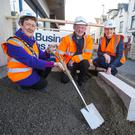Mayor of Causeway Coast and Glens Borough Council Joan Baird with Jim McCloy from contractor FP McCann and Pauline Campbell from the Department for Communities