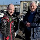 Different generations: former Ulster Rally winner Dessie McCartney shares memories of past glories with reigning champion Jonny Greer at the launch of the 2018 McGrady Insurance Northern Ireland Rally Championship