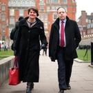 Arlene Foster and Nigel Dodds at Westminster yesterday