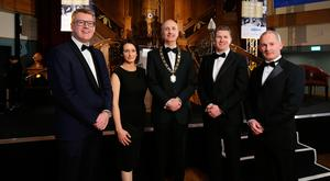 Ian Sheppard, IoD NI chairman (centre) with (from left) Stephen Martin, IoD director general, Catriona Gibson, managing partner of associate sponsor Arthur Cox, Dale Guest, director of corporate banking Northern Ireland at main sponsor Bank of Ireland UK, and Mark Logan, former Skyscanner COO at the annual dinner