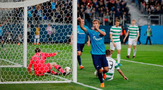 High point: Zenit's Aleksandr Kokorin celebrates netting his side's third goal
