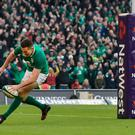 Jacob Stockdale of Ireland scores the decisive try during the Six Nations Championship rugby match between Ireland and Wales at Aviva Stadium on February 24, 2018 in Dublin, Ireland. (Photo by Charles McQuillan/Getty Images)