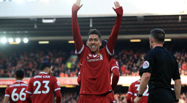 Roberto Firmino was on target as Liverpool thrashed West Ham