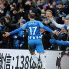 Brighton's Glenn Murray (right) celebrates scoring the second goal for his side with Anthony Knockaert during the Premier League match at the AMEX Stadium (Gareth Fuller/PA).