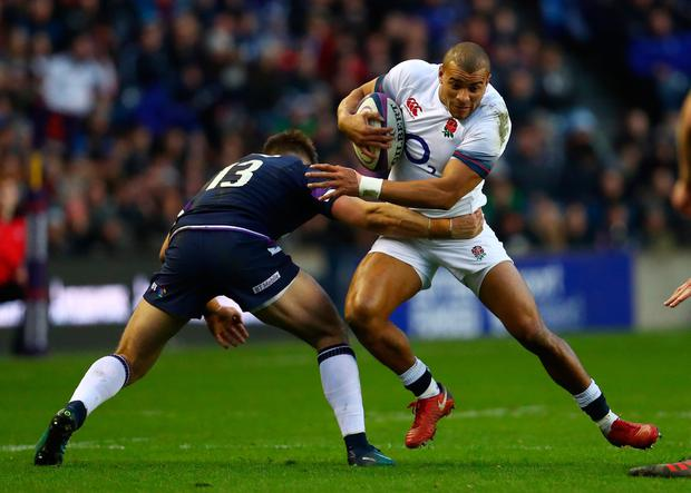 EDINBURGH, SCOTLAND - FEBRUARY 24: Jonathan Joseph of England runs at Huw Jones of Scotland during the NatWest Six Nations match between Scotland and England at Murrayfield on February 24, 2018 in Edinburgh, Scotland. (Photo by Michael Steele/Getty Images)