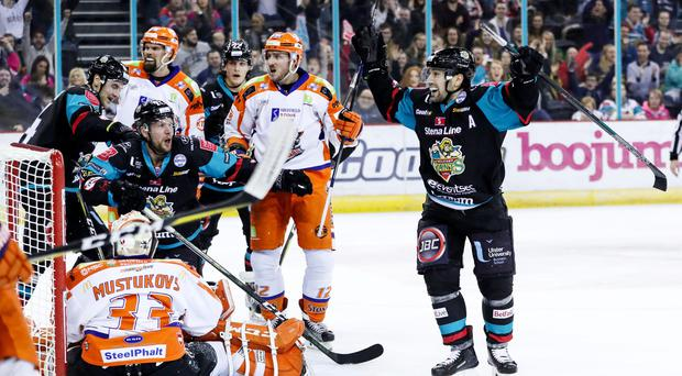 Belfast Giants Steve Saviano celebrates scoring against the Sheffield Steelers during Saturday evenings Elite Ice Hockey League game at the SSE Arena, Belfast.
