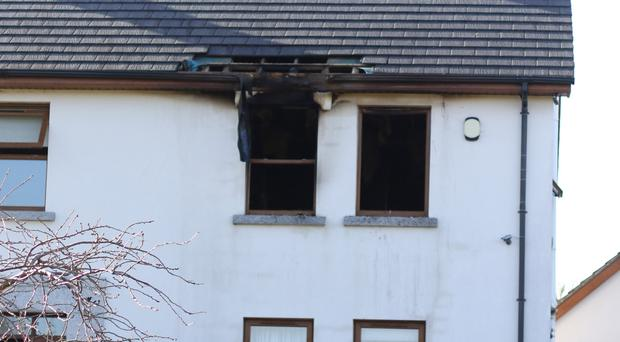 The house near Clough county down were a cleaner was bound and the house ransacked and set on fire. Pic by Peter Morrison
