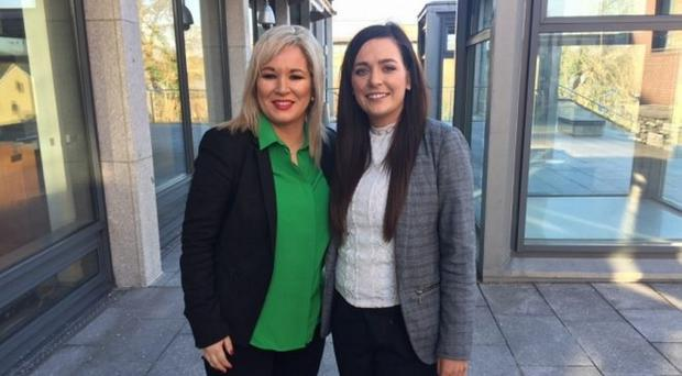Orfhlaith Begley with Michelle O'Neill